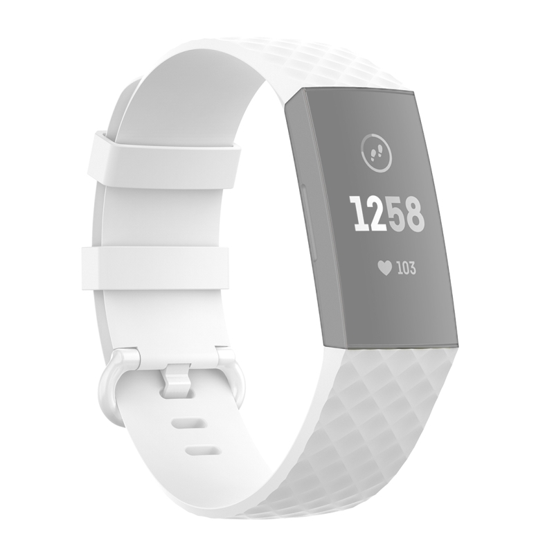 18mm Color Buckle TPU Polsband horlogeband voor Fitbit Charge 4 / Charge 3 / Charge 3 SE (Wit)