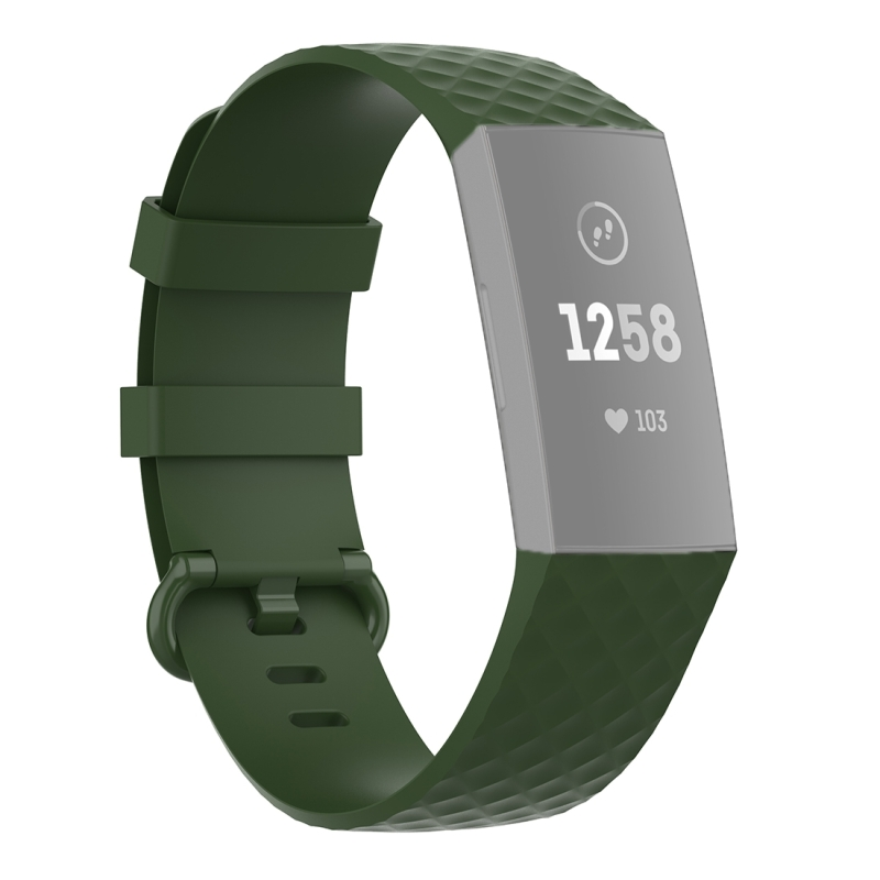18mm Color Buckle TPU Polsband horlogeband voor Fitbit Charge 4 / Charge 3 / Charge 3 SE (Olive Green)