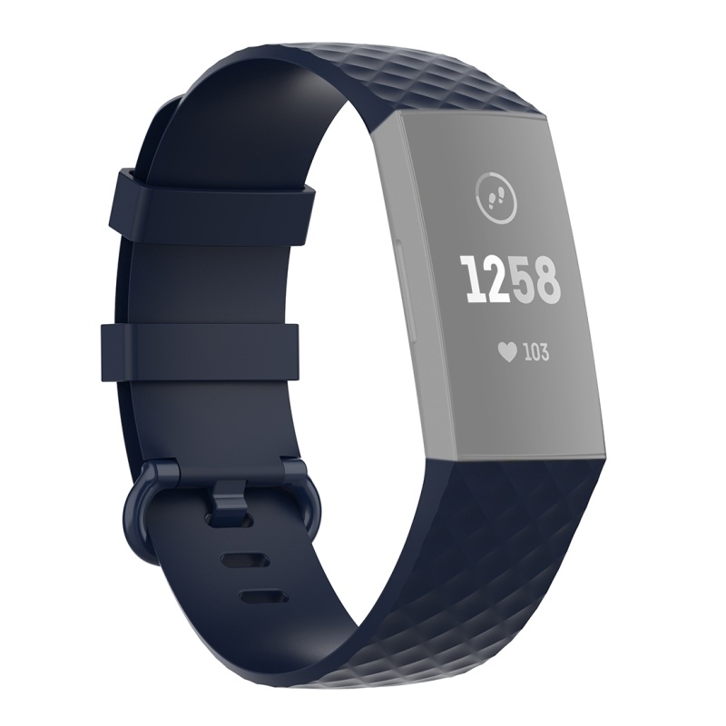 18mm Color Buckle TPU Polsband horlogeband voor Fitbit Charge 4 / Charge 3 / Charge 3 SE (Navy Blue)