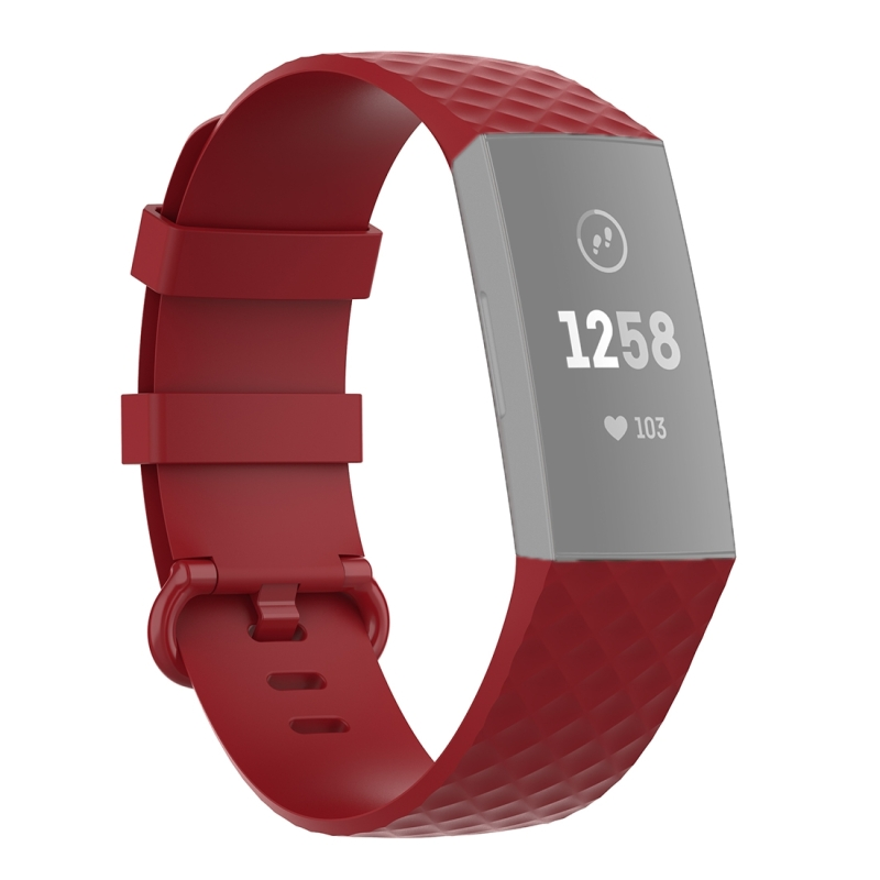 18mm Color Buckle TPU Polsband horlogeband voor Fitbit Charge 4 / Charge 3 / Charge 3 SE (Rood)