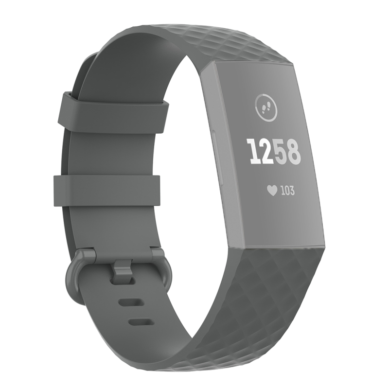18mm Color Buckle TPU Polsband horlogeband voor Fitbit Charge 4 / Charge 3 / Charge 3 SE (Grijs)