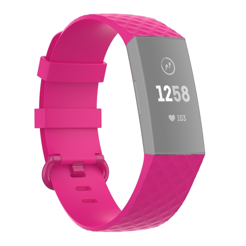 18mm Color Buckle TPU Polsband horlogeband voor Fitbit Charge 4 / Charge 3 / Charge 3 SE (Rose Red)