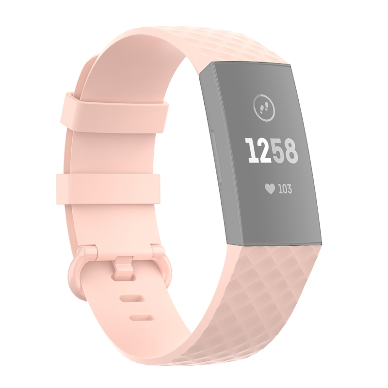 18mm Color Buckle TPU Polsband horlogeband voor Fitbit Charge 4 / Charge 3 / Charge 3 SE (Lichtroze)