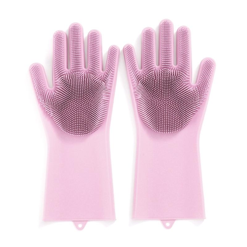 Multifunctionele siliconen handschoenen warmte-proof anti-schurende huishouden keuken schoonmaken handschoenen (roze)