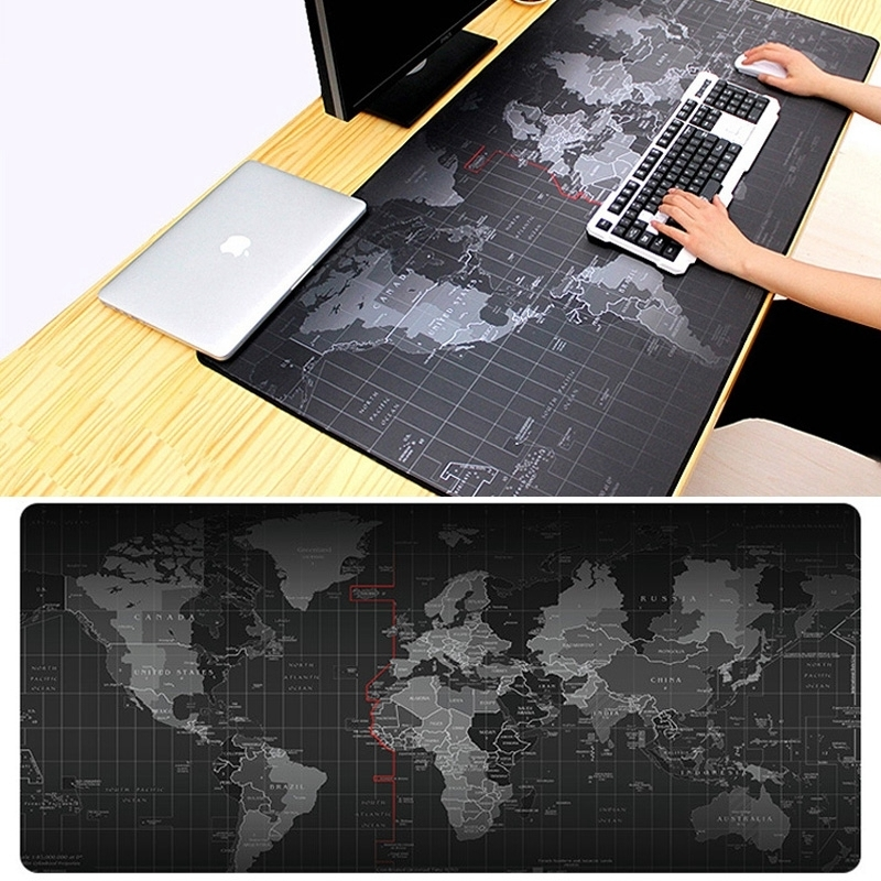 Antislip Wereldkaart patroon zachte soepele Rubber kleding oppervlak spel muismat toetsenbord Mat  Afmeting: 60 x 30 cm