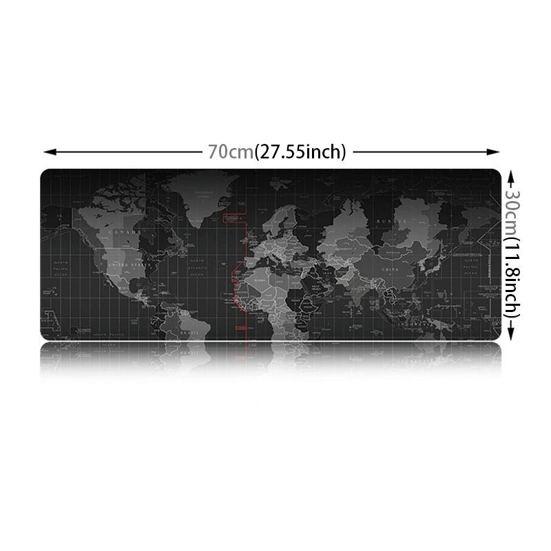 Antislip Wereldkaart patroon zachte soepele Rubber kleding oppervlak spel muismat toetsenbord Mat  Afmeting: 70 x 30 cm
