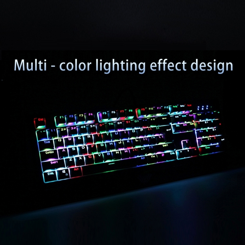 AULA Wings of Liberty Serie bedrade mechanisch USB Gaming Toetsenbord met instelbare RGB verlichting (zwart)
