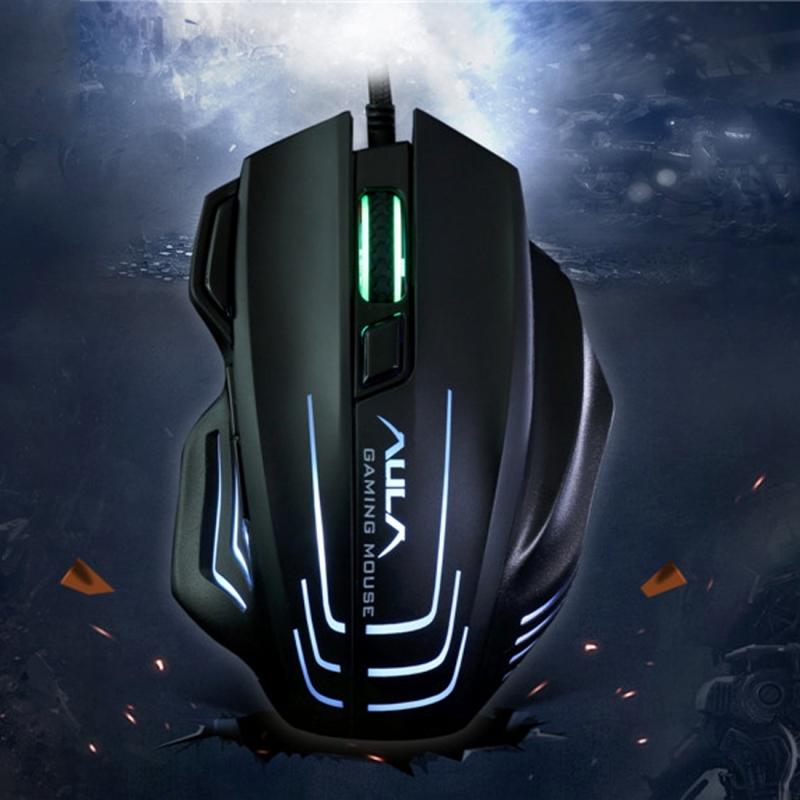 Aula-serie Ghost Shark II kleurrijke lichte 7D optische concurrerende USB bedraad Game muis  maximale resolutie van 4000 DPI(Black)