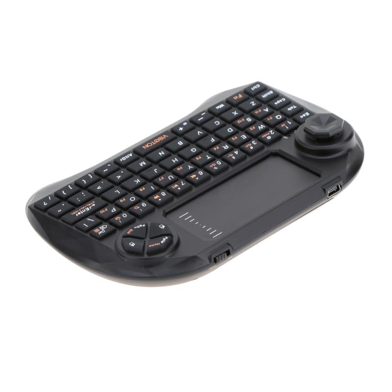 Viboton X3 Mini draadloos 2.4GHz QWERTY toetsenbord met 83-toetsen  Touchpad & 3 LED Indicators voor PC / Pad / Android / Google TV Box / XBOX360 / PS3 / HTPC / IPTV (zwart)
