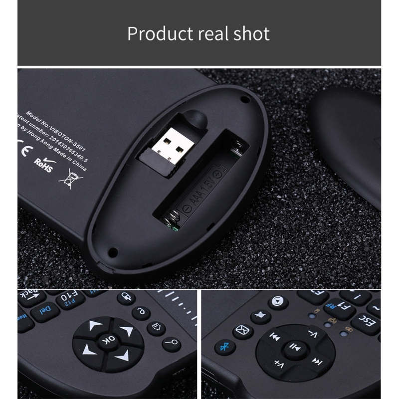 VIBOTON S501 Bluetooth Mini volledig QWERTY-toetsenbord met Touchpad & Multimedia Control voor Laptop  desktopcomputer  TV  STB(Black)