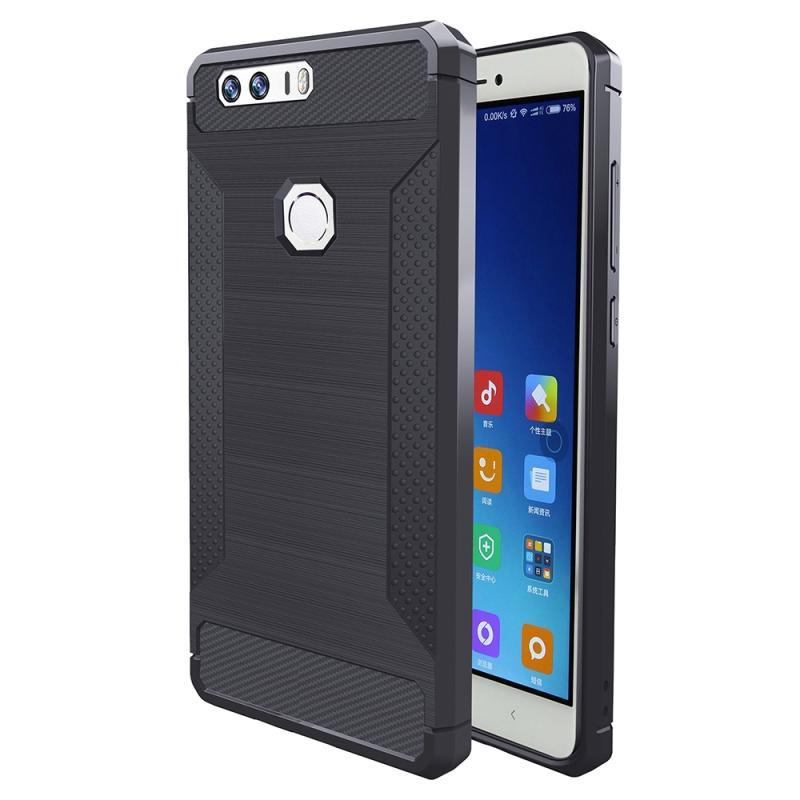 Huawei Honor 8 Geborsteld koolstofvezel structuur schokbestendig TPU back cover Hoesje (grijs)