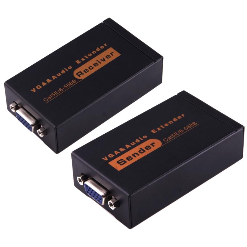 VGA & Audio Extender 1920 x 1440 HD 100m Cat5e / 6-568B netwerk Kabel afzender ontvanger Adapter(zwart)