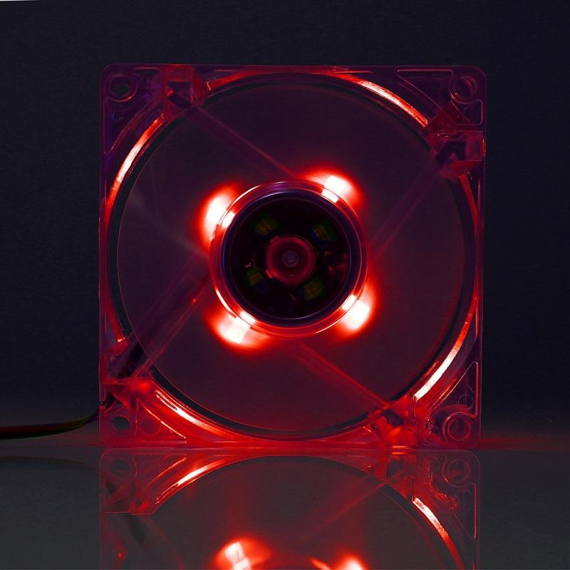 8025 4 pin DC 12V 0.18A Computer hoesje Cooling Fan [PEVF koeler met LED licht  Afmeting: 80x80x25mm (rood)