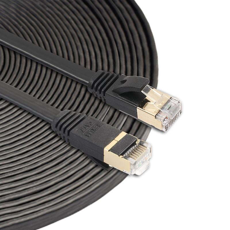 15m CAT7 10 Gigabit Ethernet Ultra platte patchkabel voor Modem Router LAN netwerk - gebouwd met afgeschermde RJ45-aansluitingen (zwart)