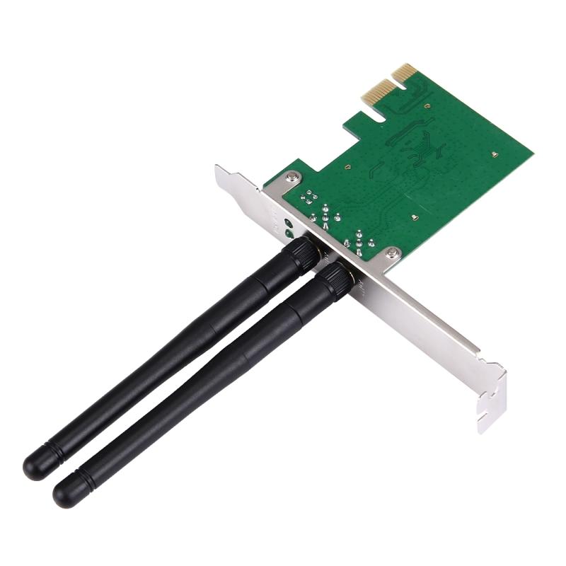 300Mbps PCI Express Wireless LAN netwerkadapterkaart met 2 antennes  IEEE 802.11b / 802. 11 g / 802.11n Standaards