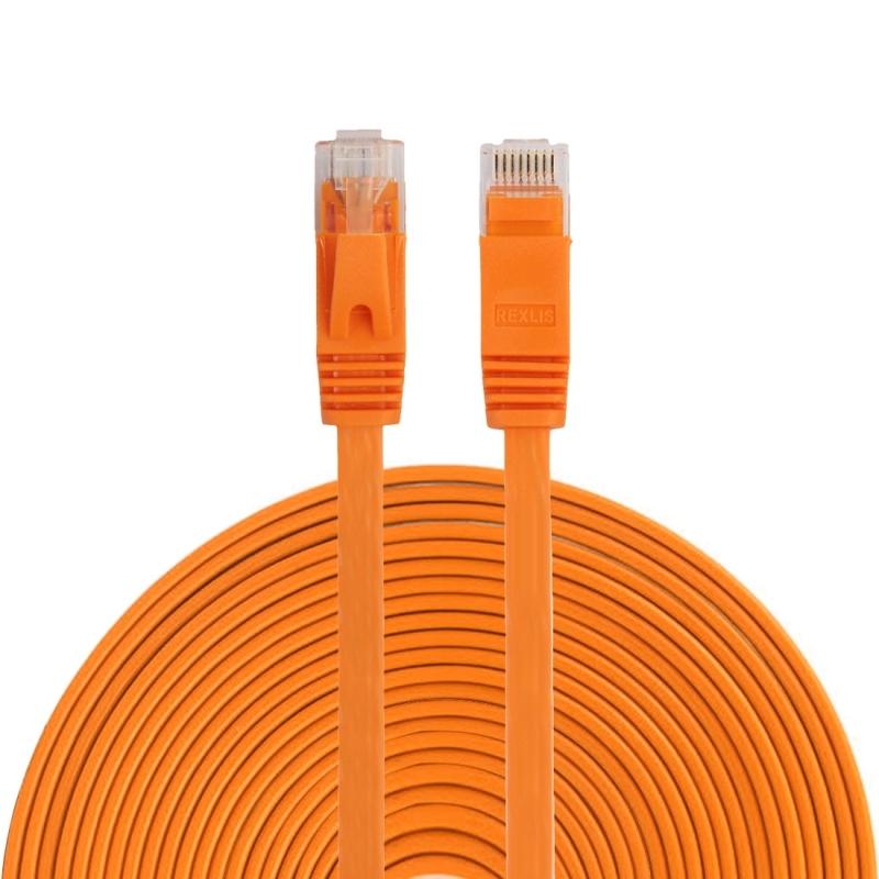 15m CAT6 ultra-dunne platte Ethernet LAN netwerkkabel  Patch leiden RJ45 (oranje)