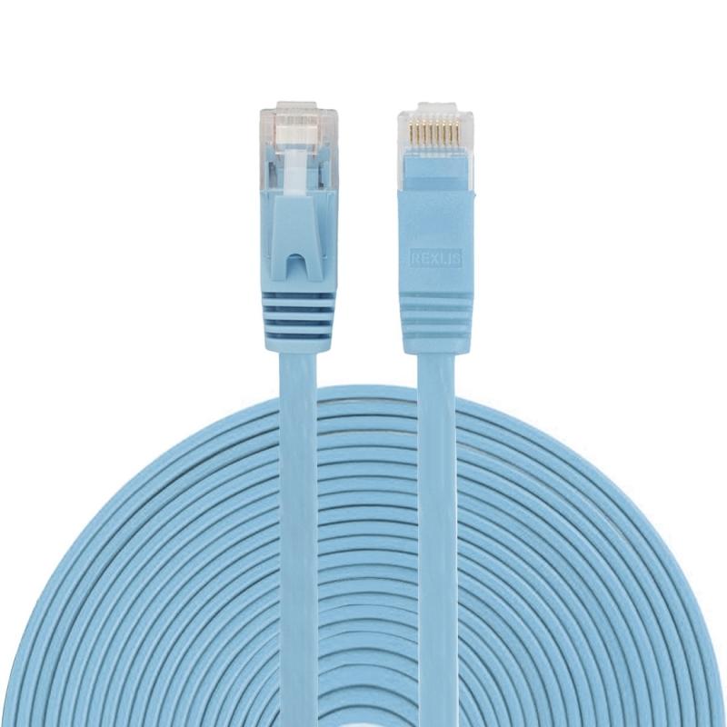 15m CAT6 ultra-dunne platte Ethernet LAN netwerkkabel  Patch leiden RJ45 (blauw)