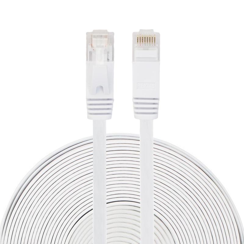 15m CAT6 ultra-dunne platte Ethernet LAN netwerkkabel  Patch leiden RJ45 (wit)