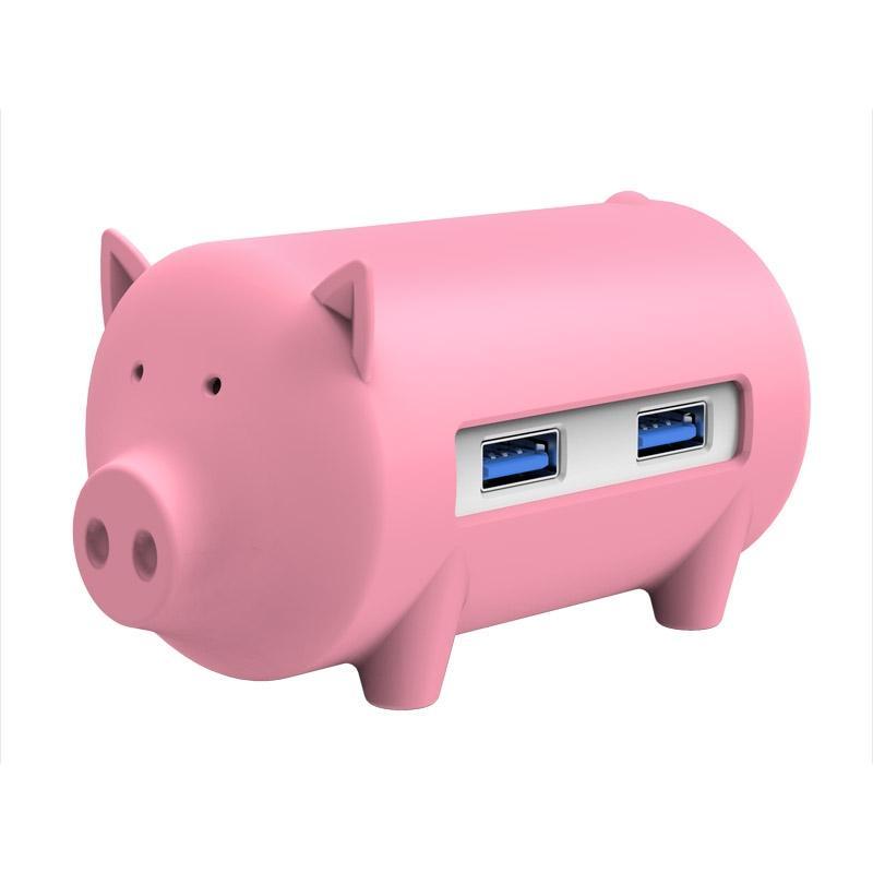 ORICO H4018-U3 Litte varken HUB 3 ports USB 3.0 HUB met TF + SD Card Reader(roze)