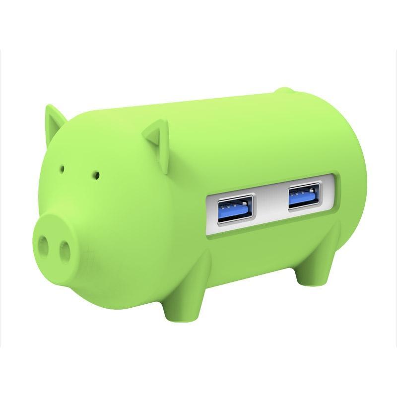 ORICO H4018-U3 Litte varken HUB 3 ports USB 3.0 HUB met TF + SD Card Reader(groen)