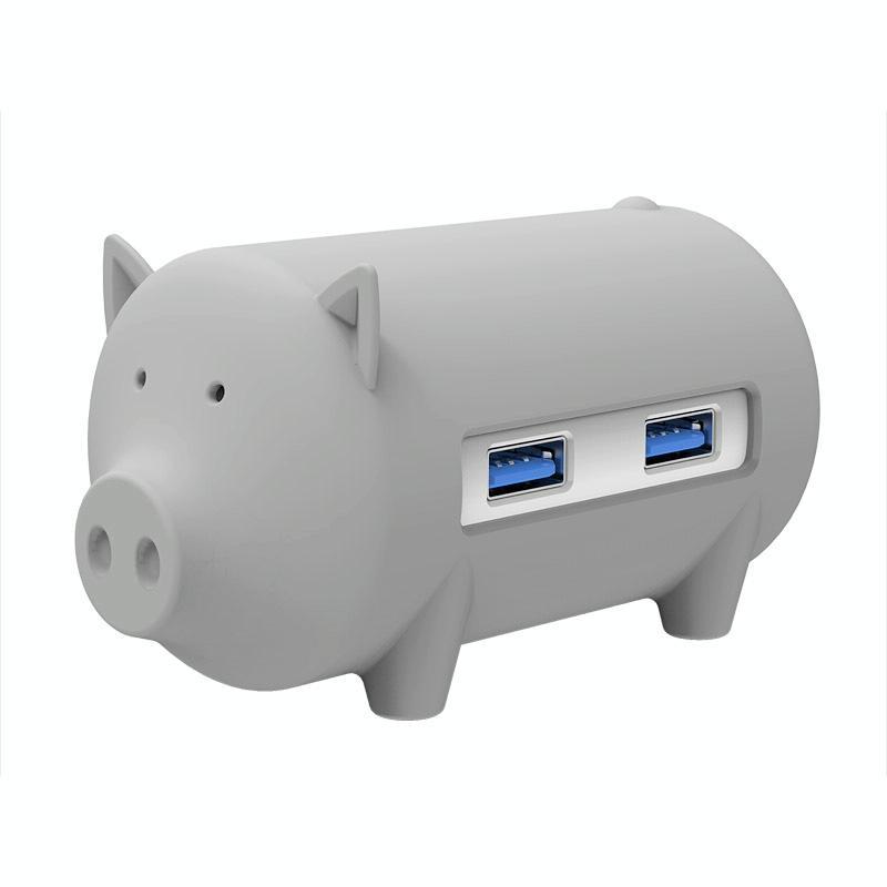 ORICO H4018-U3 Litte varken HUB 3 ports USB 3.0 HUB met TF + SD Card Reader(grijs)