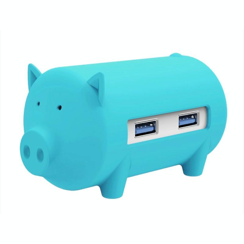 ORICO H4018-U3 Litte varken HUB 3 ports USB 3.0 HUB met TF + SD Card Reader(blauw)