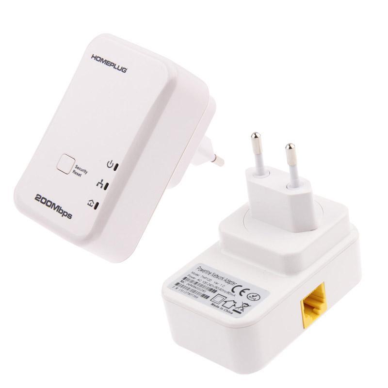 2 stuks 7HP120 200Mbps Powerline netwerk Mini Homeplug AV Ethernet Bridge  EU Plug(White)