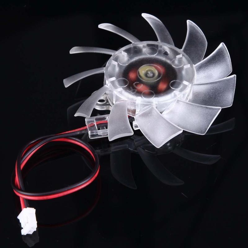 60mm 2-pin VGA Card Cooling Fan  Screw Distance: 10mm x 12mm x 33mm x 23mm(Transparent)