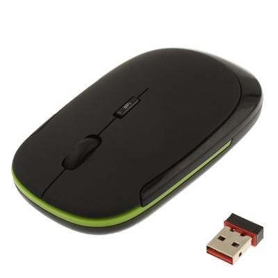 Ultra-dunne draadloze 2.4 GHz Optische USB Muis (zwart)