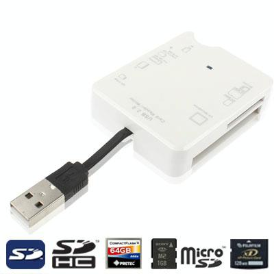 Hi-Speed kaartlezer  gebouwd in USB 2.0-Interface (ondersteuning SD MMC / RS-MMC / TF / M2 / MS Pro / MS Pro Duo / CF / XD kaartlezer)  (wit)