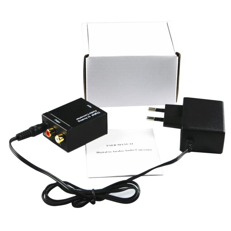 Digitaal Optisch Coaxiaal naar Analoog RCA Audio Converter(zwart)