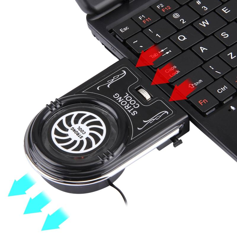 Laptop Notebook Cooling Pad Mute Air uitpakken Cooling Fan Turbo hitte Radiator met Appropriative Band Tape stijl USB-Kabel(zwart)