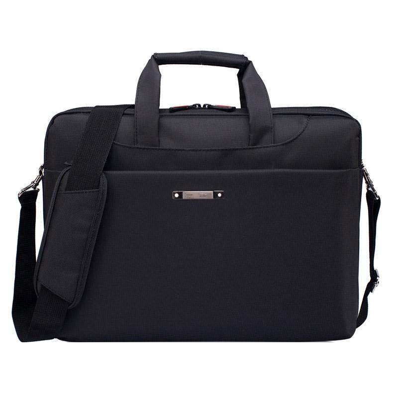15.6 inch draagbare één schouder waterdicht Nylon laptoptas  zwart (301#)(Black)