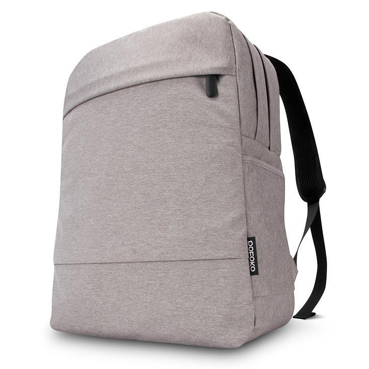 POFOKO 15 6 inch Dual schouders 2 lagen kwaliteit stof Waterdicht rugzak tas voor Laptop Notebook(grijs)
