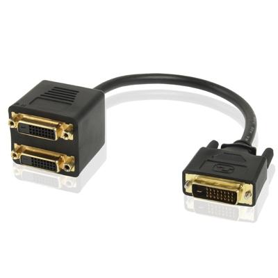24+1 DVI mannetje naar 2 DVI vrouwtje kabel Adapter  Lengte: 30cm