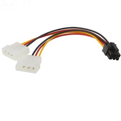 6 Pin mannetje naar 2 x 4 Pin vrouwtje Power kabel  Lengte: 17.5cm