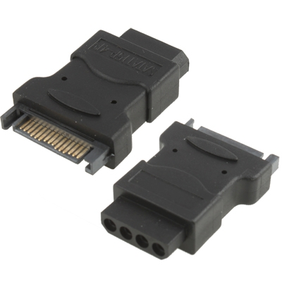 SATA 15 Pin mannetje naar 4 Pin vrouwtje Adapter