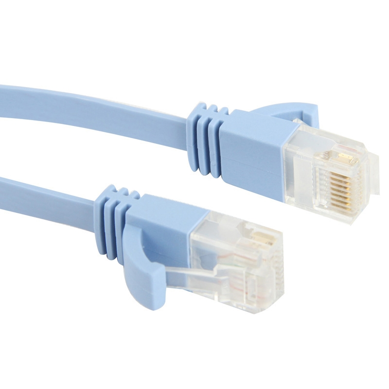 CAT6a ultra dun plat Ethernet netwerk LAN Kabel  Lengte: 10 m (Baby blauw)