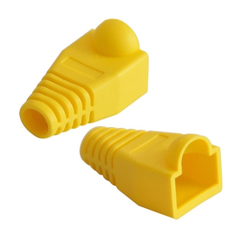 100 stuks netwerk Kabel laarzen Cap Cover voor RJ45  geel