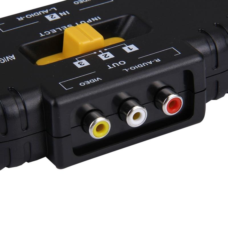 AV Audio-Video Signaal Switcher  3 Groeps Input en 1 Groep Output (zwart)