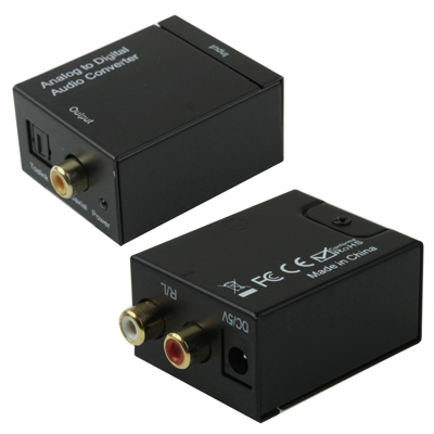 Analoog RCA naar Digitaal Optisch Coaxiaal Toslink Audio Converter(zwart)
