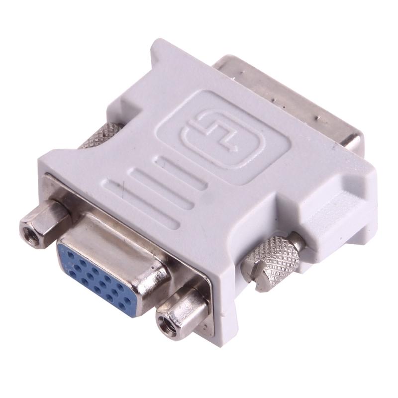 DVI-I mannetje Dual-Link 24 + 5 naar 15 Pin VGA vrouwtje Video Monitor Adapter Converter(grijs)