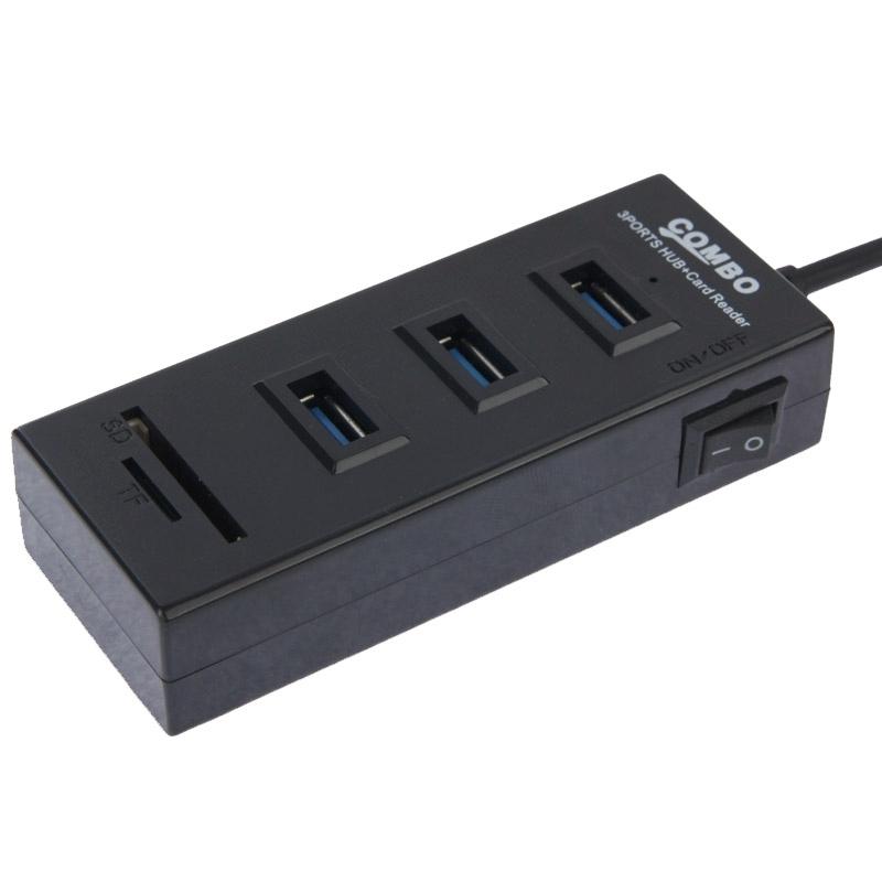 2 in 1 USB 2.0 TF/SD-kaartlezer & 3-poorts HUB  Kabel Lengte: 80cm(zwart)
