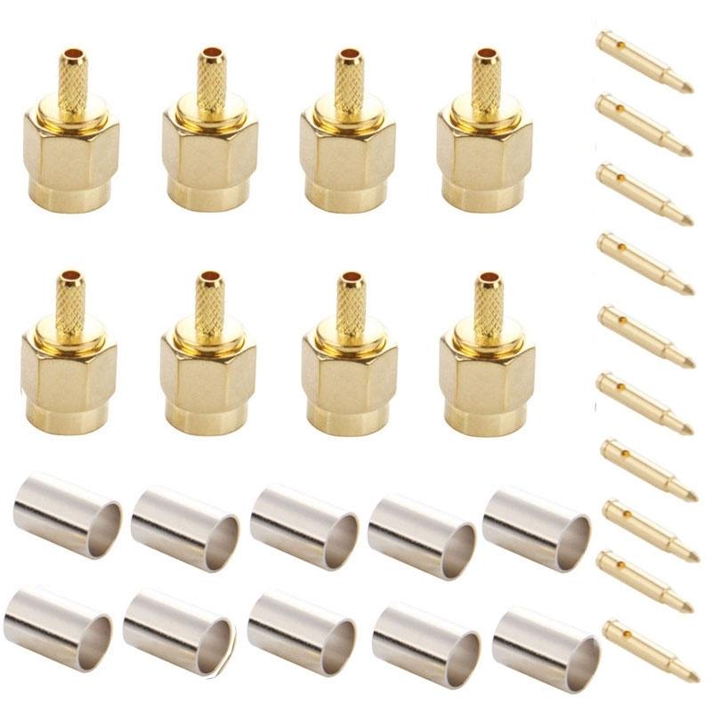 10 Stuks SMA mannetje Plug Pin RF Connector Adapter voor RG174 / RG316 / RG188 / RG179 Kabel