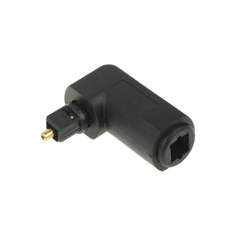 Hoge kwaliteit vergulde 90 graden vierkant naar vierkant rechter hoek TOSLINK Digitale optische Audio Adapter