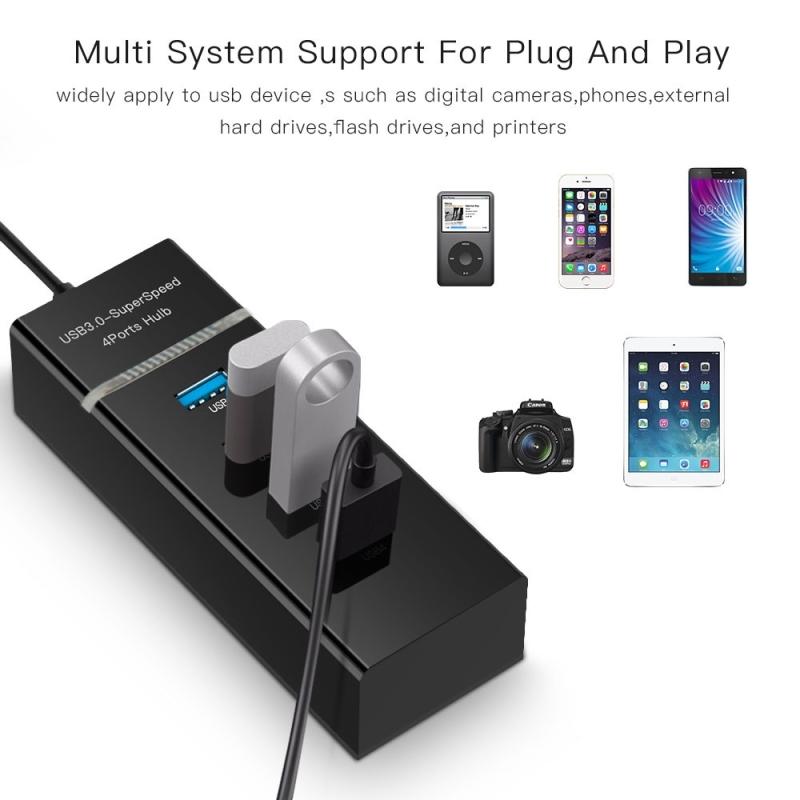 4 Poorts USB 3.0 HUB  super snel 5Gbps  Plug en Play  met LED Power Indicator  BYL-P104 (zwart)