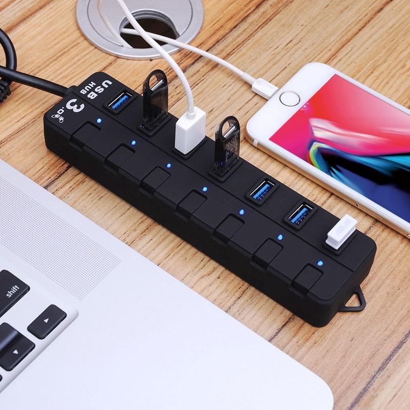 Super snelle 5Gbps 7 Poorts USB 3.0 HUB met LED Indicatie voor Desktop Laptop PC Mac (zwart)
