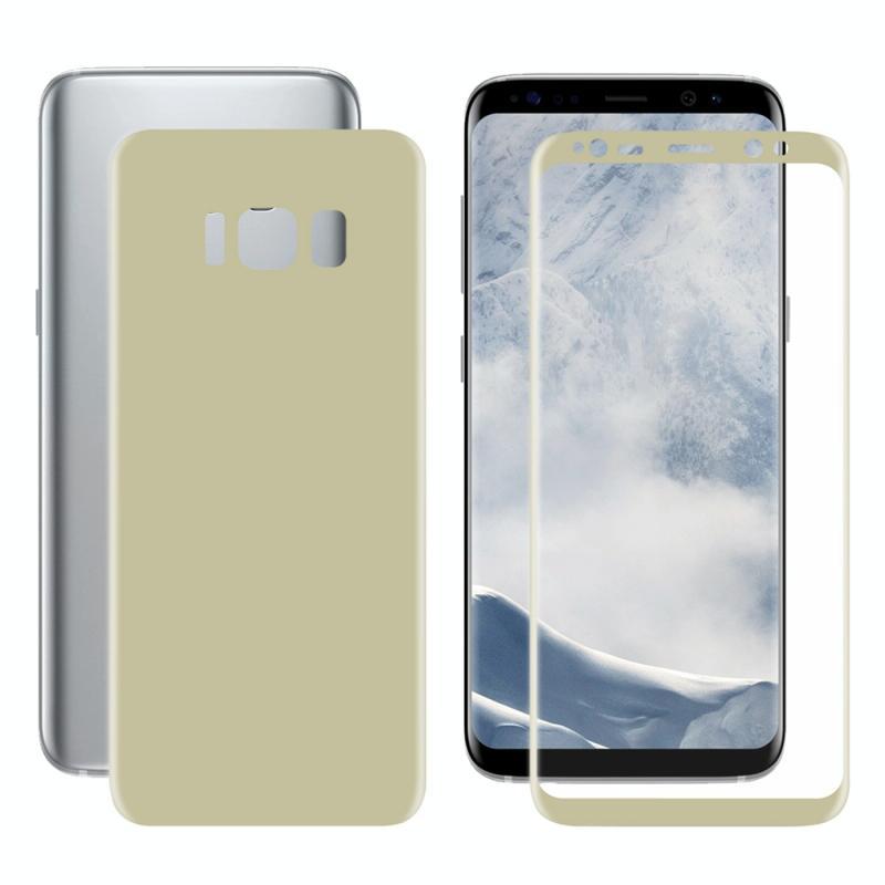 ENKAY Hat-Prins voor Galaxy S8 PLUS / G9550 3D volledig scherm Electroplate PET Front + terug zacht Screen Protector Film(Gold)
