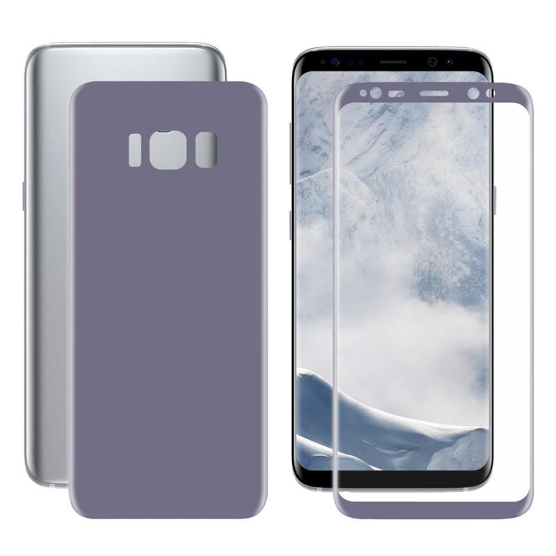 ENKAY Hat-Prins voor Galaxy S8 PLUS / G9550 3D volledig scherm Electroplate PET Front + terug zacht Screen Protector Film(Purple)