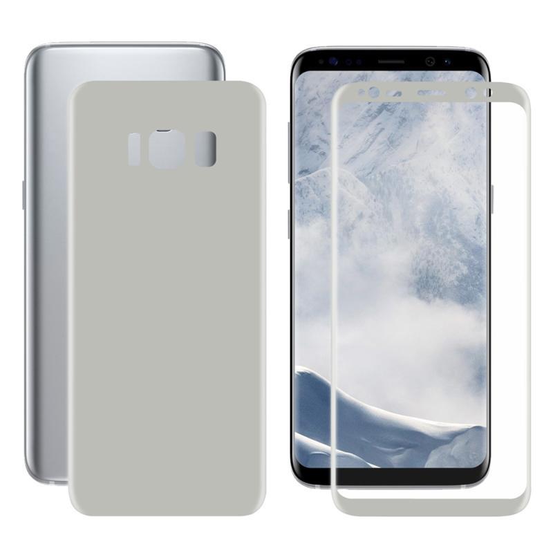 ENKAY Hat-Prins voor Galaxy S8 PLUS / G9550 3D volledig scherm Electroplate PET Front + terug zacht Screen Protector Film(Silver)